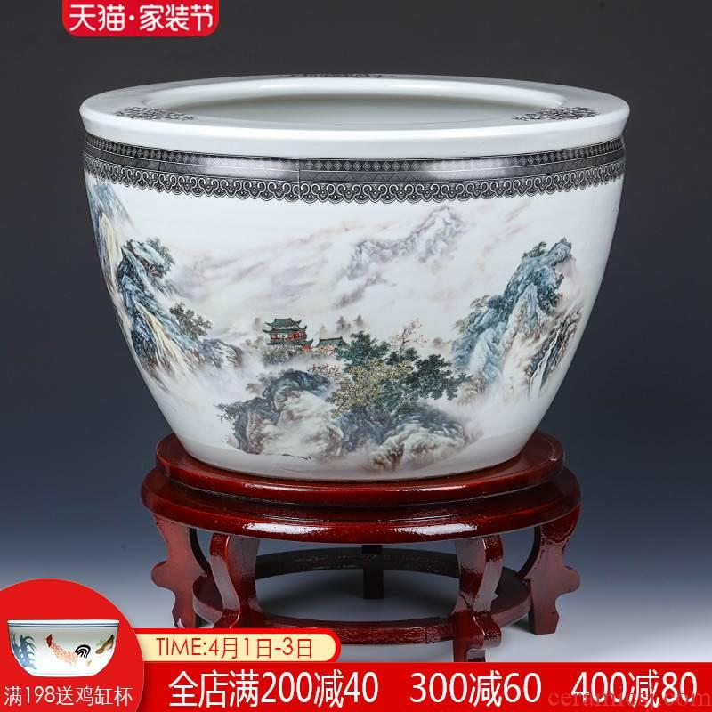 Jingdezhen ceramic basin of big fish tank turtle cylinder goldfish bowl water lily lotus king sitting room feng shui furnishing articles