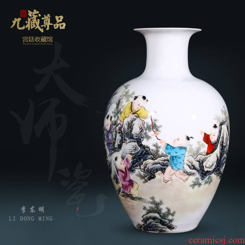Jingdezhen ceramics dong - Ming li hand - made lad vase Chinese style living room TV ark, flower arranging decoration as furnishing articles