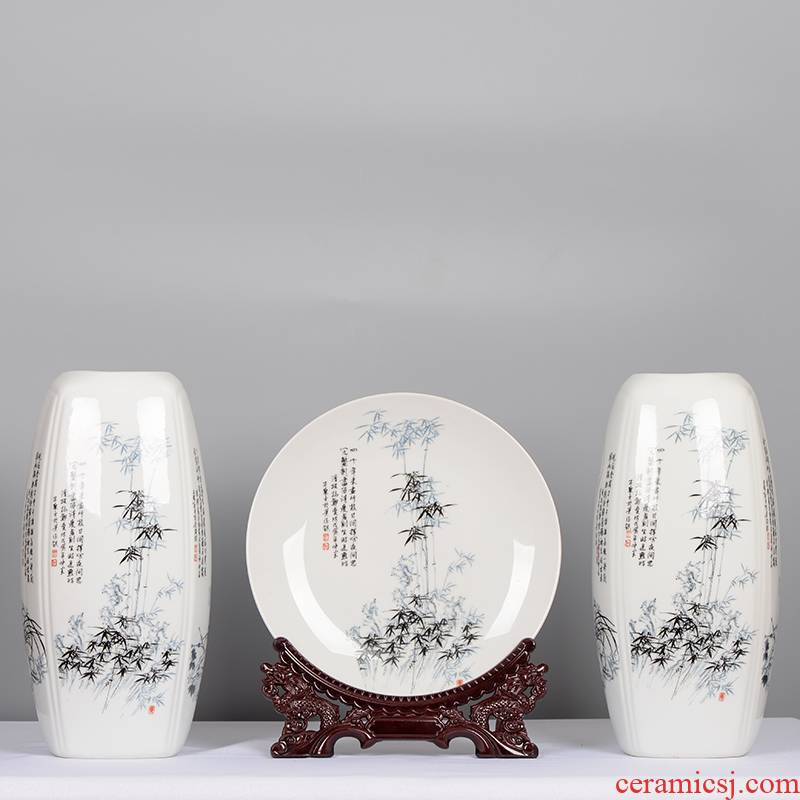 Jingdezhen ceramics vase by patterns home wine three - piece arranging flowers adornment hydroponic Chinese style furnishing articles