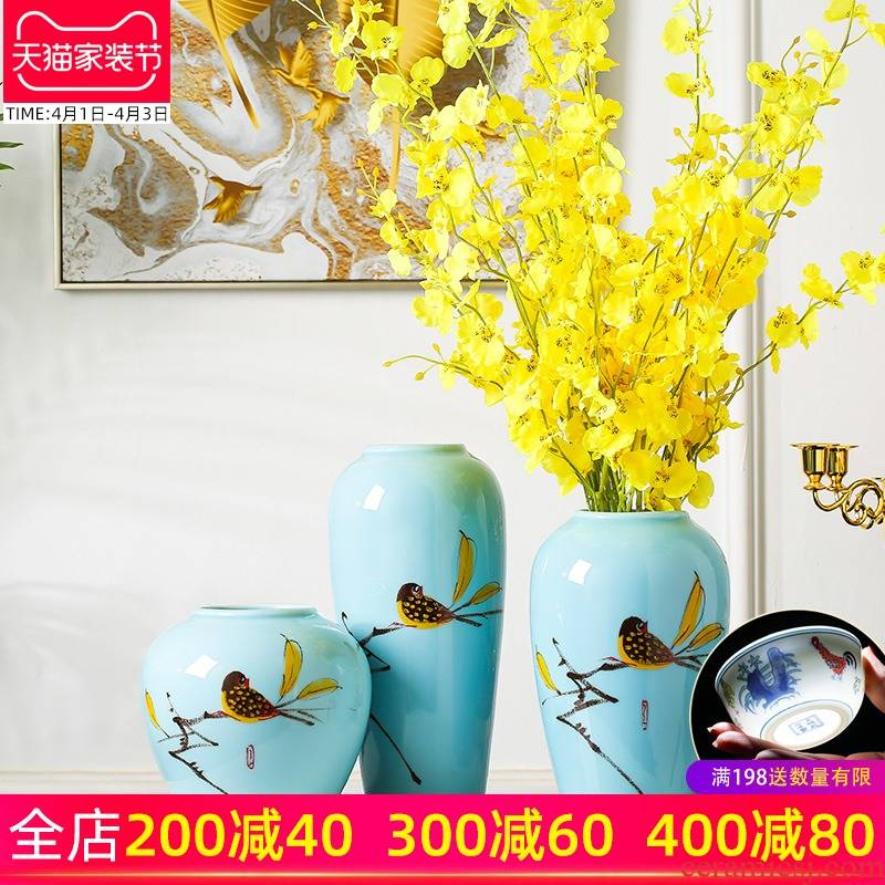 New Chinese style household furnishing articles porcelain ceramic vase sitting room simulation flowers flower arrangement table soft adornment porch decoration