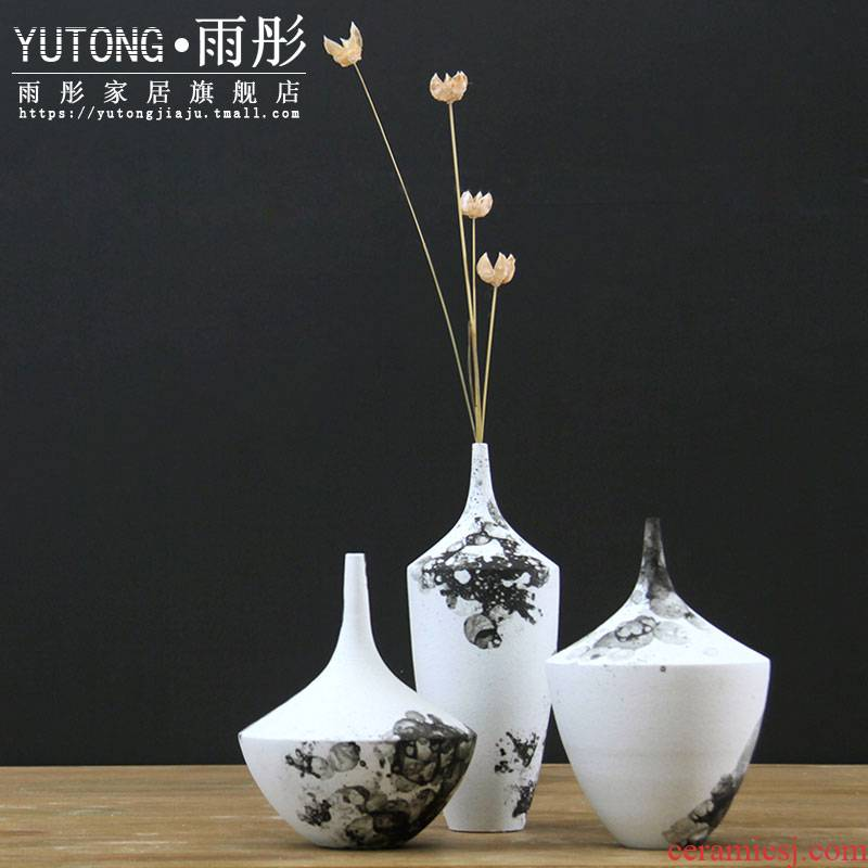 Rain tong Japanese ceramic flowers inserted creative Nordic home sitting room TV ark of flower arranging wine adornment furnishing articles