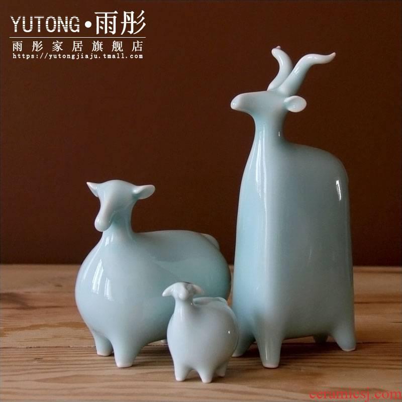 Rain tong home | jingdezhen ceramics creative shadow blue sheep checking porcelain three Yang kaitai home furnishing articles