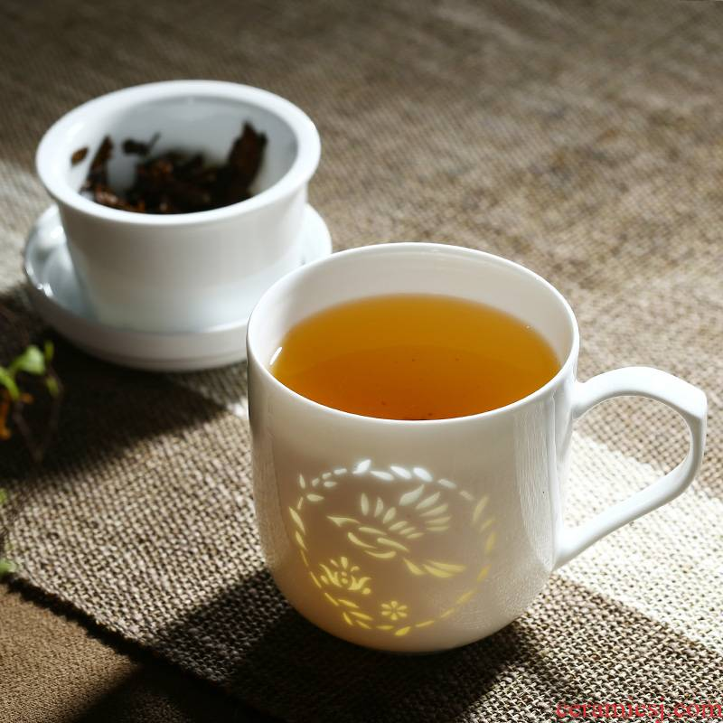 Jingdezhen and exquisite white ceramic cup tea cup tea separation office cup with cover filter glass ceramic keller