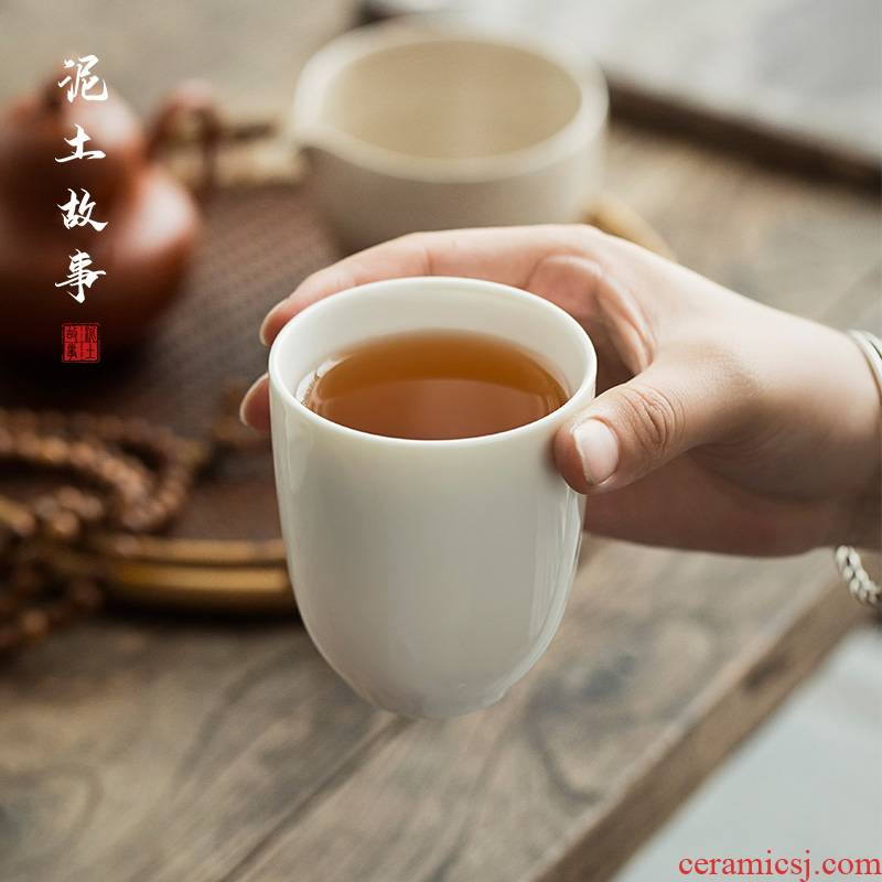 Dehua lard white ceramic cups male household white porcelain cup warm hand contracted large glass office tea cups