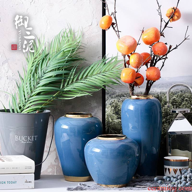 Sitting room decoration flower arranging dried flowers, contracted and I household adornment European ceramic vase furnishing articles blue small POTS
