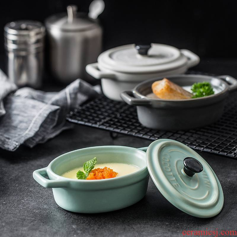 Matte enrolled porcelain with cover ears baked baked dishes contracted for rice pudding bowl creative steamed egg stew soup bowl