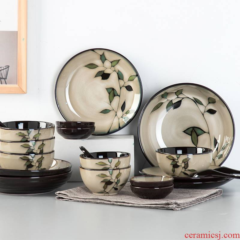 Dishes suit household Chinese wind ten bowl dish high - grade 10 people combination of new Chinese style restoring ancient ways yuquan ceramic tableware