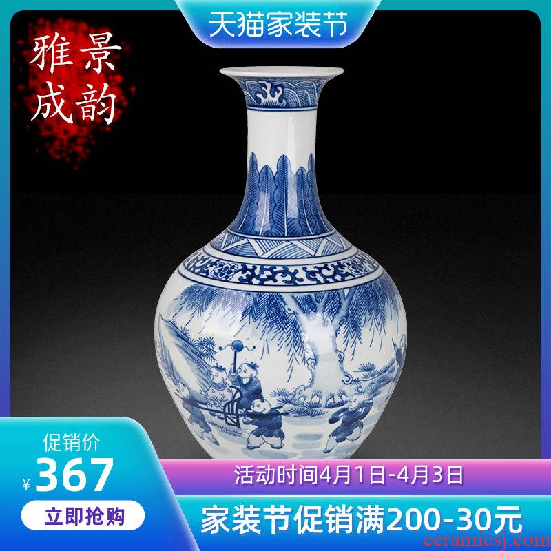Jingdezhen ceramic lad design of blue and white porcelain vase sitting room porch flower arrangement of Chinese style household decorative furnishing articles