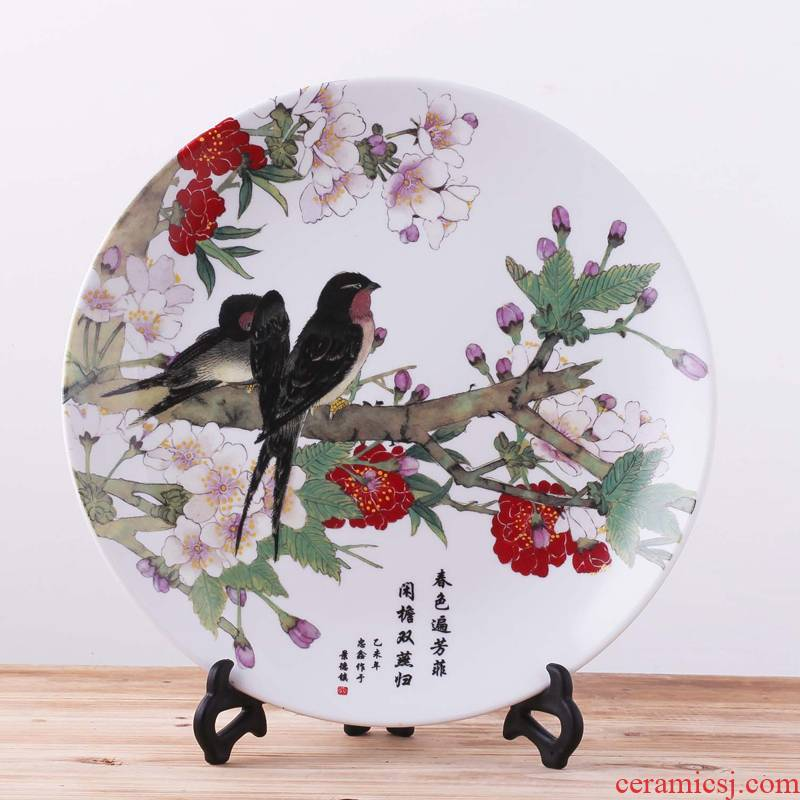 Jingdezhen ceramics decoration plate hanging dish spring brightness large domestic act the role ofing 35 cma012 handicraft furnishing articles