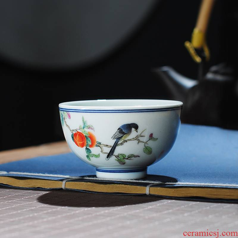 The Owl up with jingdezhen ceramic kung fu tea cups, small round blue and white powder enamel cup hand - made peony cup