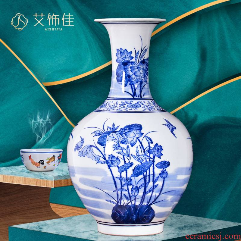 Antique vase of blue and white porcelain of jingdezhen ceramics new Chinese flower arranging rich ancient frame sitting room TV ark, home furnishing articles