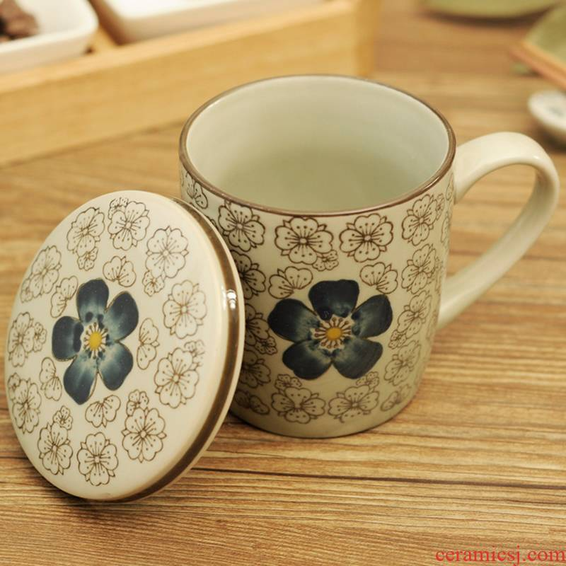 The Under glaze color porcelain teacup Chinese wind of blue and white porcelain tea set office water cup and meeting gift gift in the New Year