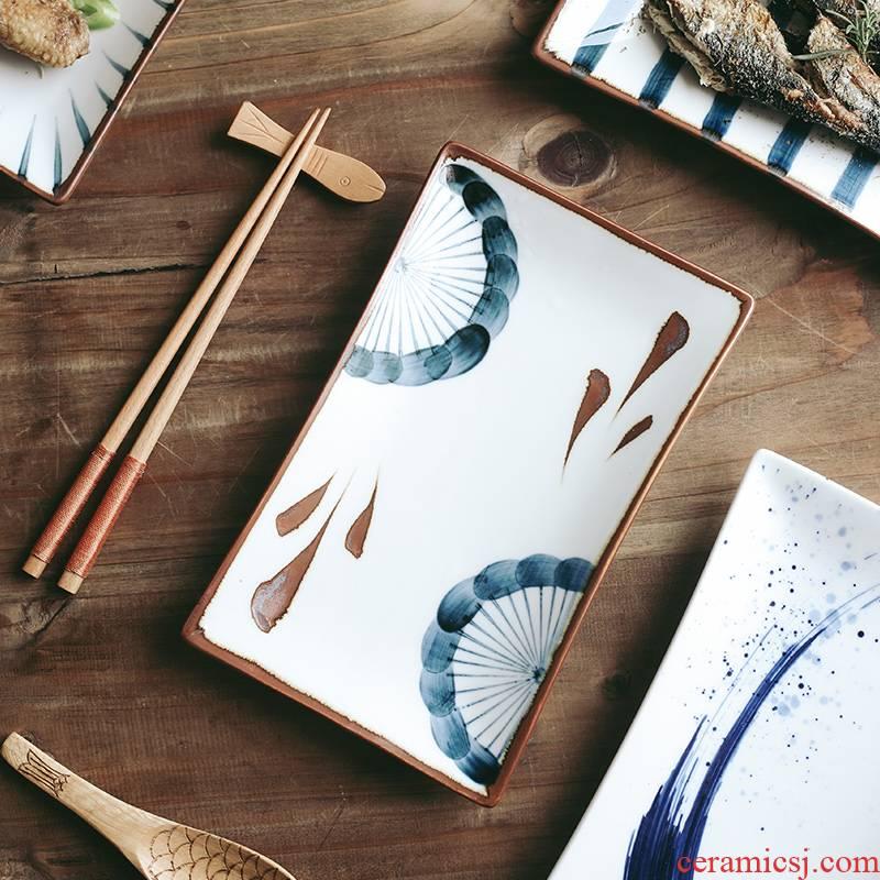 Tao soft Japanese ceramics rectangular plate retro hand - made individuality creative household utensils sushi tray was dessert tray