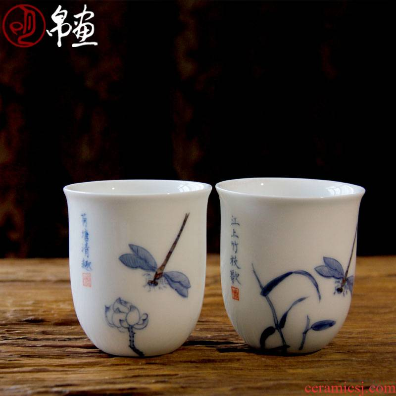 The awaken of spring hand painting dragonfly tea cup sample tea cup of blue and white porcelain jingdezhen ceramics, The tea is taking