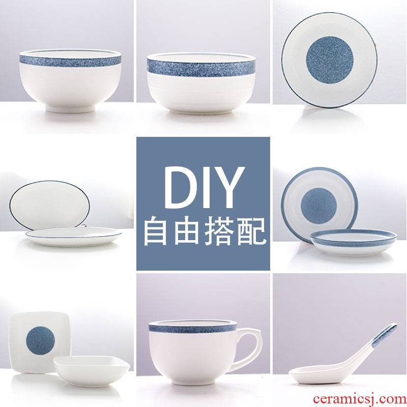 Ceramic dish dish dish home ideas can microwave Japanese - style tableware dishes suit to eat bread and butter of jingdezhen