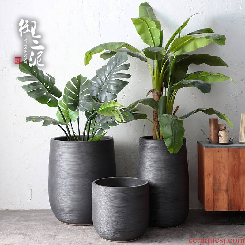 Nordic flowerpot I and contracted dry flower vases, ceramic furnishing articles, green plant POTS of large diameter indoor plant decoration