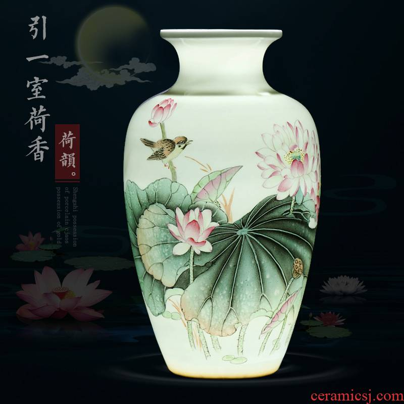 The Master of jingdezhen ceramics hand - made vases pastel lotus modern Chinese style living room home furnishing articles do vase