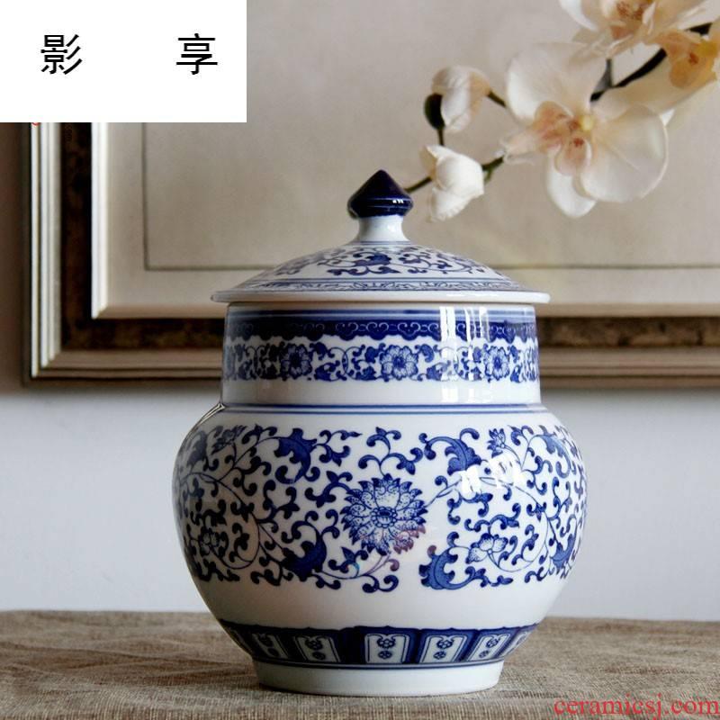 Shadow enjoy | jingdezhen blue and white porcelain tea pot of tea cake box primitive simplicity decoration household ceramics creative tea ware porcelain J