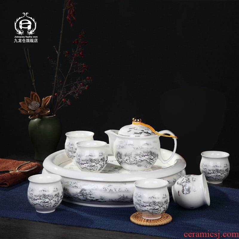 DH jingdezhen blue and white porcelain double kung fu tea set suit household ceramics with small cups of a complete set of tea tea tray