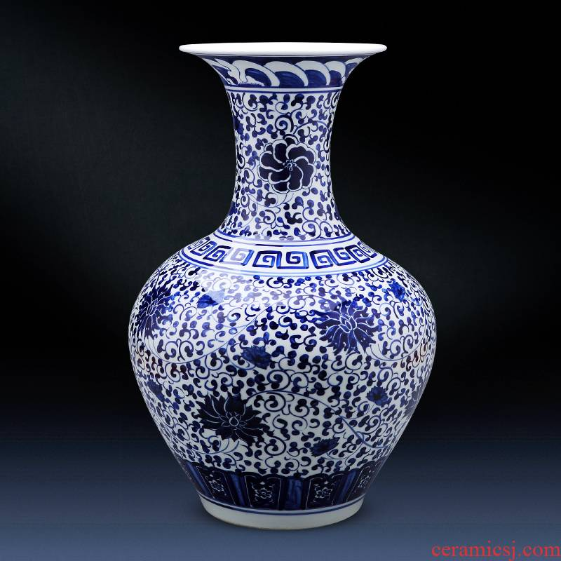 Jingdezhen ceramics antique hand - made of blue and white porcelain vase landing large bottles household act the role ofing is tasted TV ark, furnishing articles