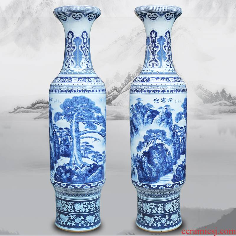 175 jingdezhen ceramics of large vases, antique hand - made guest - the greeting pine sitting room place of blue and white porcelain hotel decoration