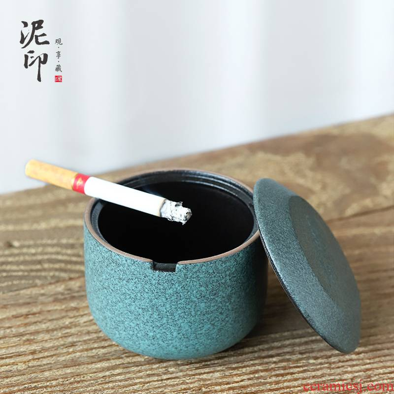 Mud seal xiangyun ashtray ceramic creative move fashion with cover wind small household bedroom living room office