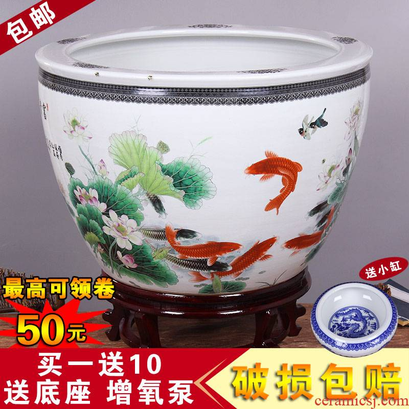 Jingdezhen ceramic aquarium large goldfish bowl water lily always LianHe flower tortoise cylinder brocade carp painting and calligraphy cylinder package mail
