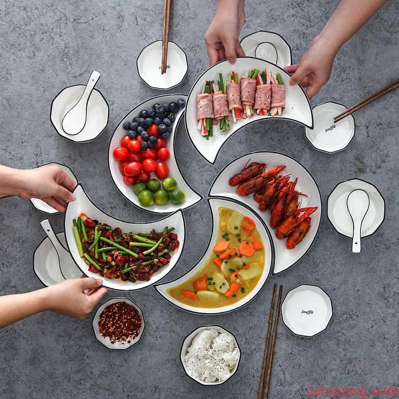 Web celebrity in same moon reunion platter ceramic tableware portfolio family dinner plate spell dish dish bowl chopsticks sets