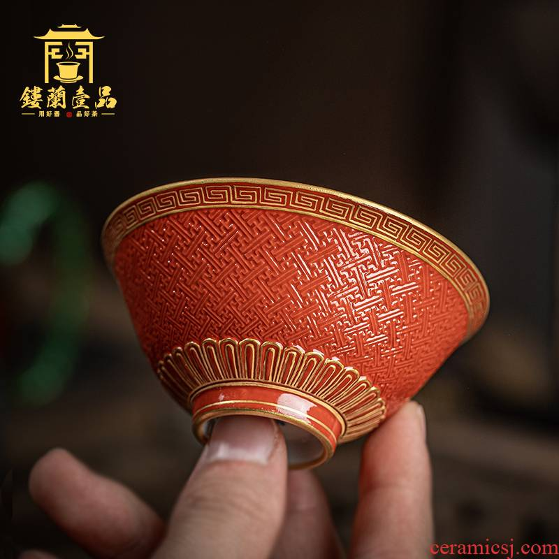 Jingdezhen checking ceramic red glaze see hand - cut master of kung fu tea cup household single cup large bowl