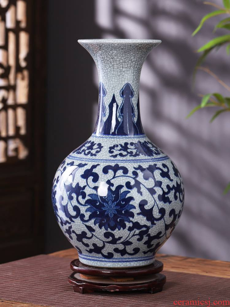Jingdezhen blue and white porcelain vase antique ceramics furnishing articles of Chinese style living room rich ancient frame decoration decoration