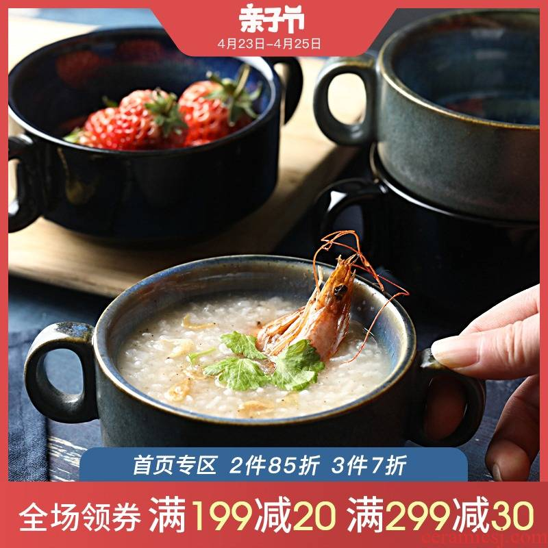 Creative use of single ear soup bowl of soup bowl of oatmeal breakfast cup Nordic ceramic tableware web celebrity ins household move