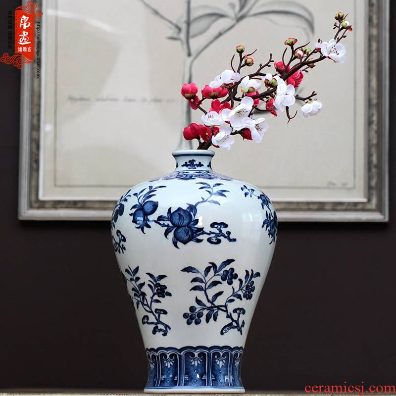 Jingdezhen ceramic general blue - and - white decoration flower pot pot - bellied furnishing articles household act the role ofing is tasted dry flower vase in the living room