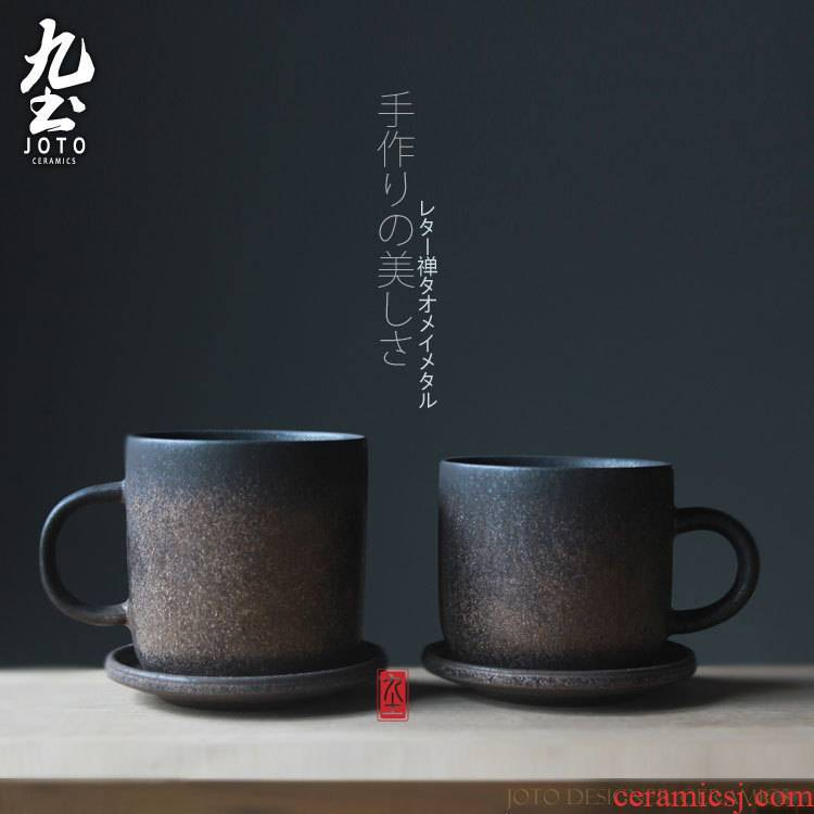 About Nine soil checking pottery move coffee cup with household ultimately responds a cup of black metal Japanese - style retro hangers coffee cup