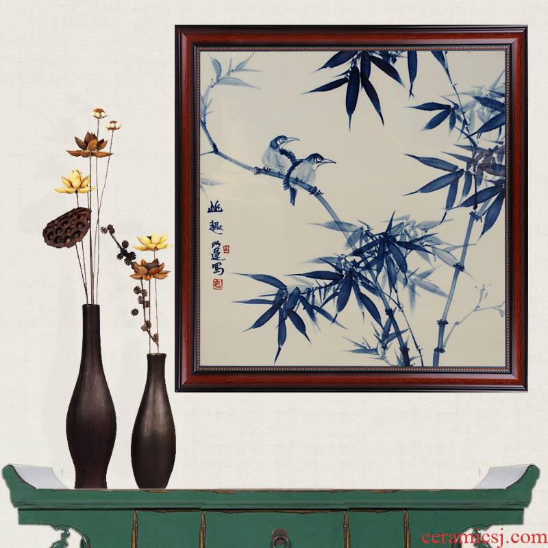 Blue and white hand - made the delightful serenity of seclusion porcelain jingdezhen ceramics famous masterpieces partition handicraft painting murals sitting room