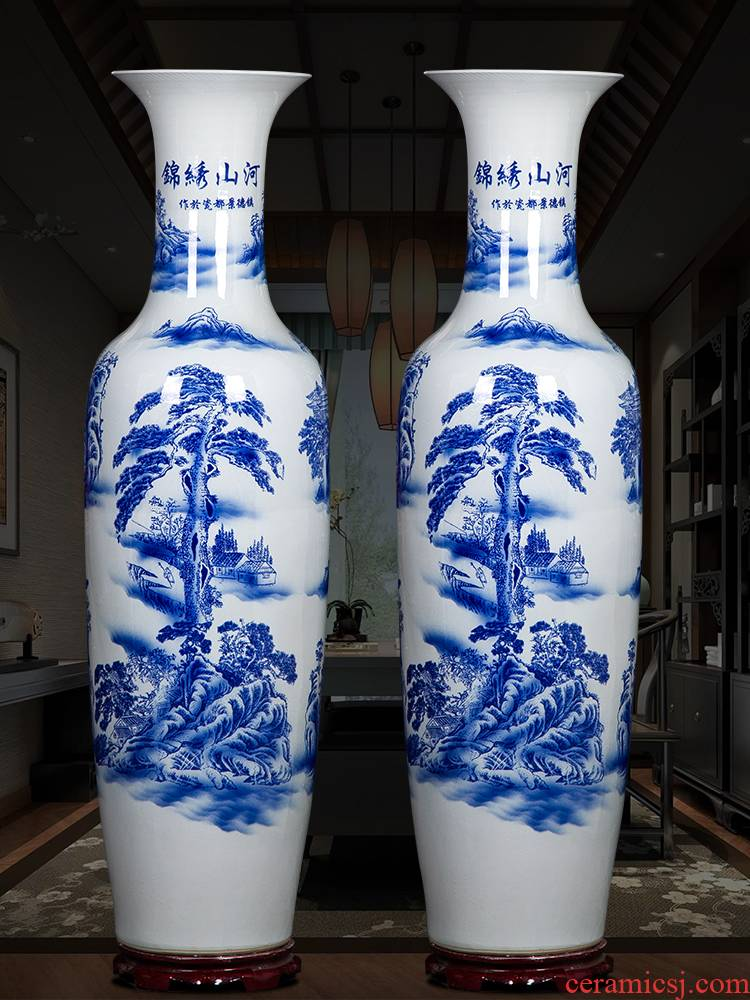 Jingdezhen ceramics of large blue and white porcelain vase furnishing articles to heavy sitting room adornment large hotel opening gifts