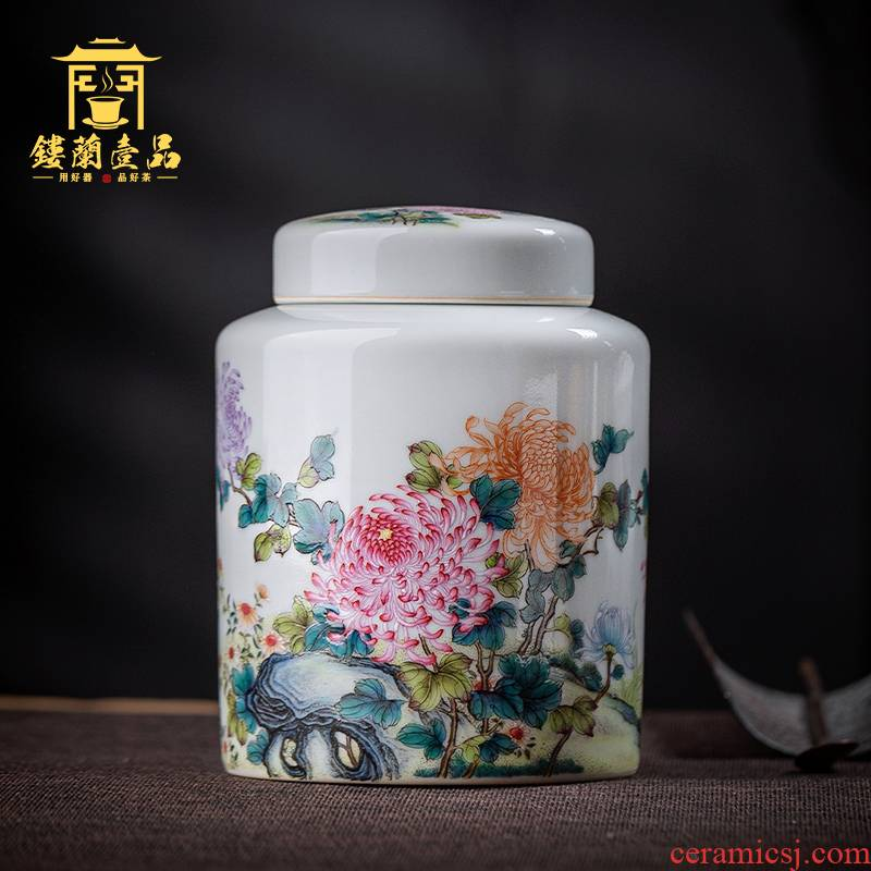 Jingdezhen all hand pastel by tea canister boutique high - end household seal warehouse storage tanks ceramic tea pot