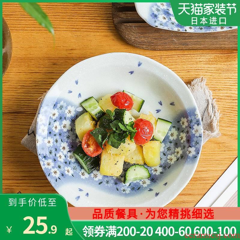 Japan 's imports of ceramic tableware sakura snow Japanese deep dish dish dish dish fruit plate pasta dishes