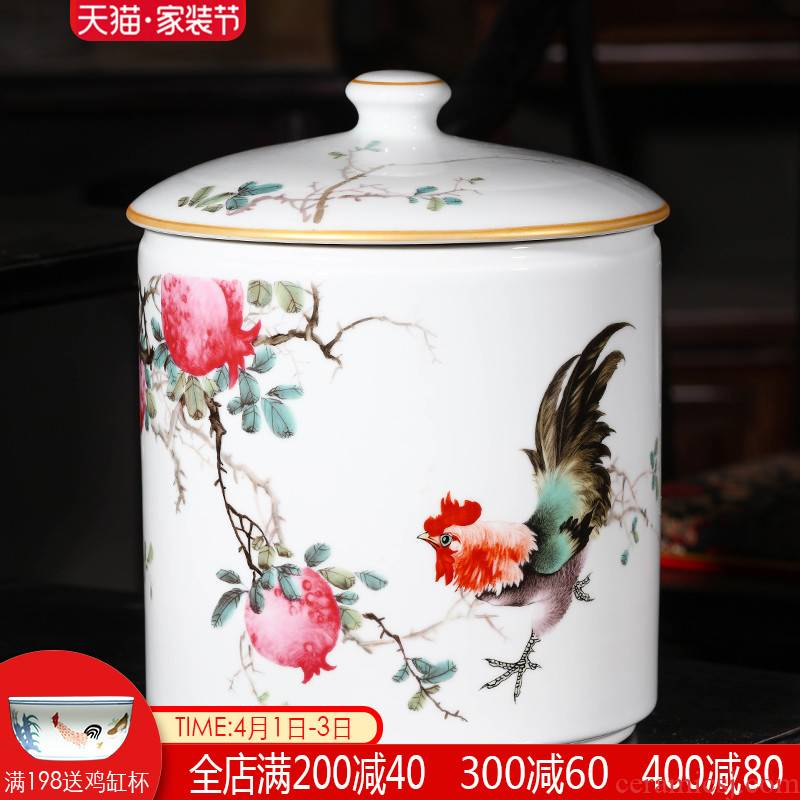 Jingdezhen ceramic tea pot large sealing as cans of puer tea cylinder storage jar sealing of bread receives, the seventh, peulthai the household