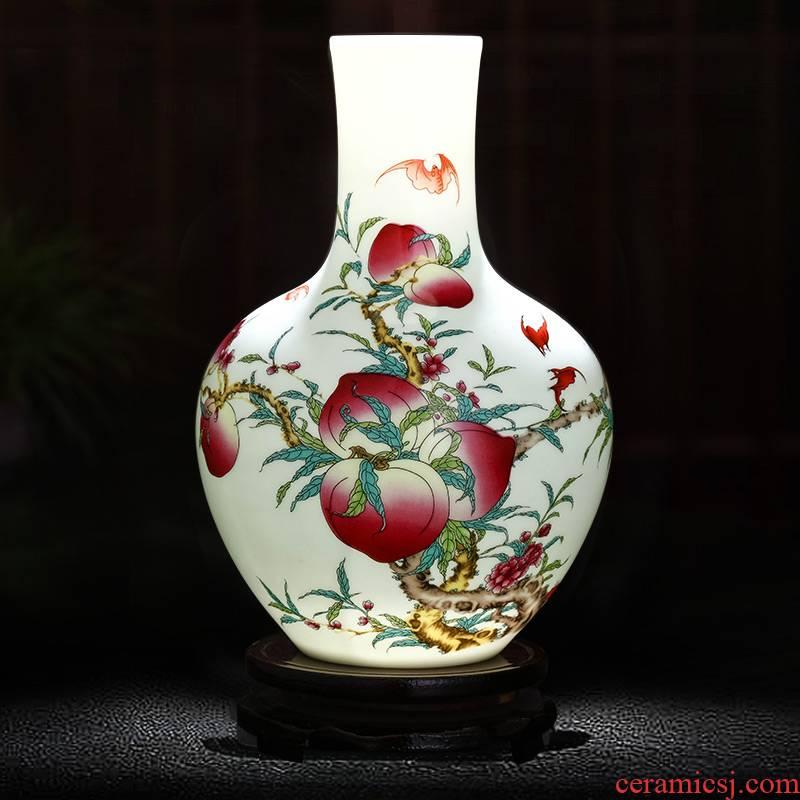 Jingdezhen ceramics live figure vase home furnishing articles flower arranging Chinese style living room TV cabinet handicraft