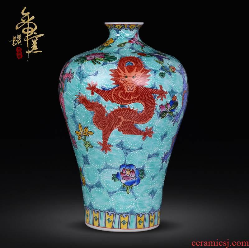 Jingdezhen ceramics vase archaize enamel pastel color green glaze wulong vase classical decorative hand - made furnishing articles