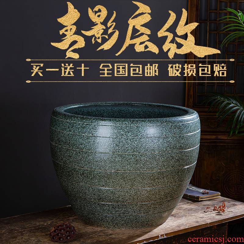 Jingdezhen ceramic aquarium oversized home furnishing articles lotus lotus cylinder tortoise raise goldfish bowl ornaments