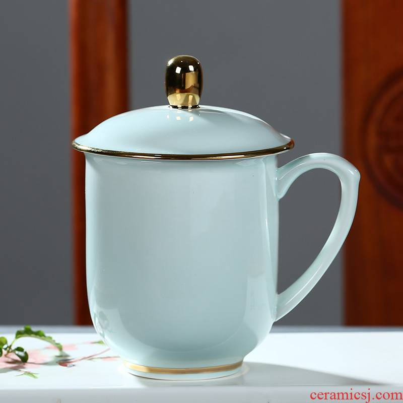 Jingdezhen ceramic tea cup of office tea cup household glass with cover keller celadon glass printing
