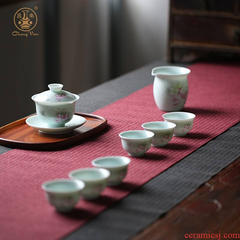 Chang, south jade porcelain kung fu tea set of jingdezhen ceramic eight the tureen home office tea set