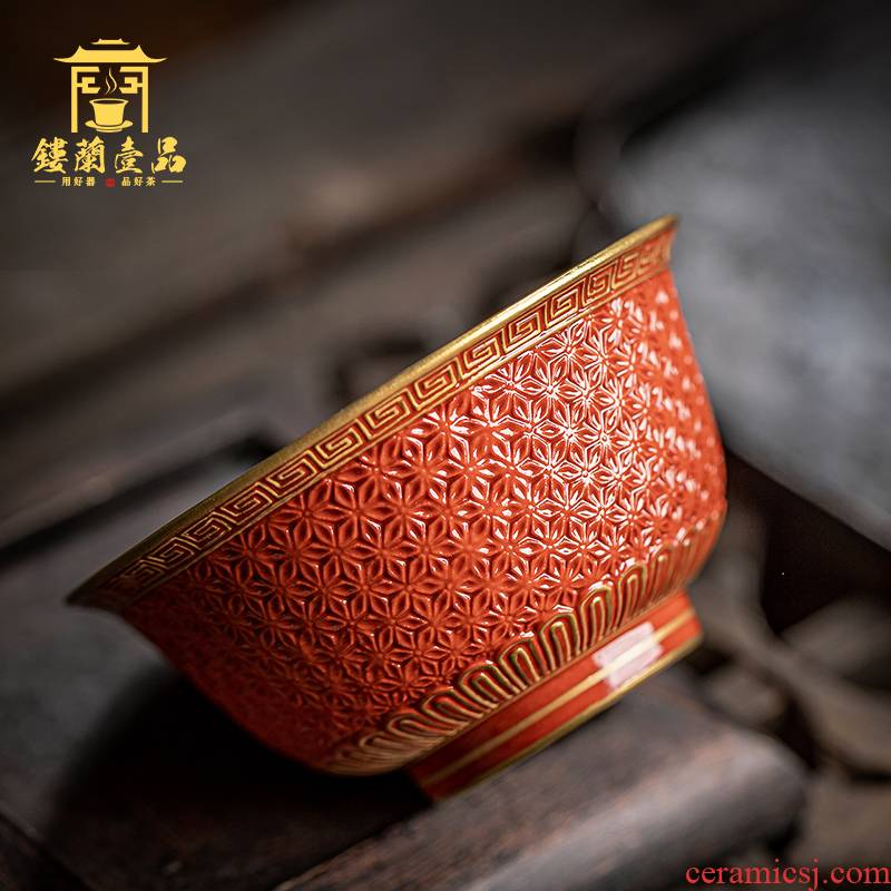 Jingdezhen ceramic all hand red glaze see hand - cut master of kung fu tea cup home a single large bowl