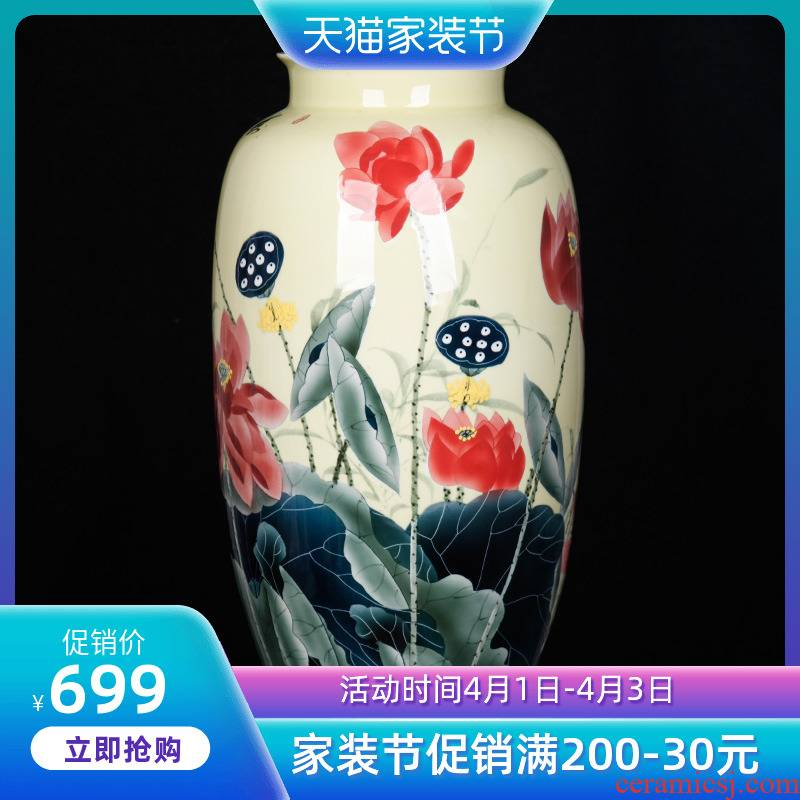 Jingdezhen ceramic new Chinese hand made peony vase decoration place to live in the living room TV cabinet near China