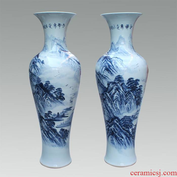 219 JingQin jingdezhen ceramic hand - made scenery figure blue large vases, goddess of mercy bottle home decorations