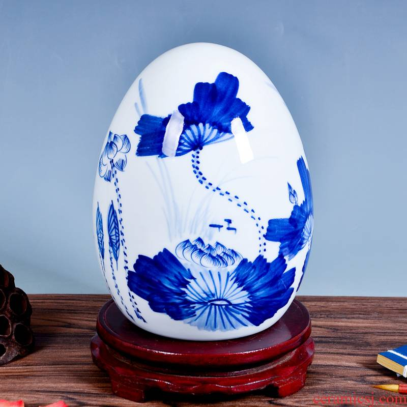 Jingdezhen ceramics hand - made scenery of blue and white porcelain egg furnishing articles crafts home rich ancient frame sitting room adornment