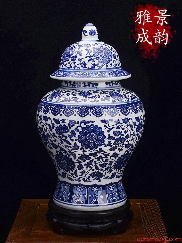 Jingdezhen ceramic general pot of blue and white porcelain vase decoration furnishing articles large household living room TV cabinet decoration