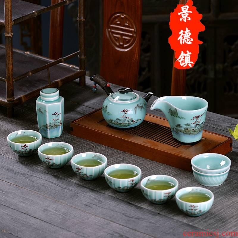 Jingdezhen ceramic kung fu tea set all hand - made tea sets tea taking of a complete set of home office gift teapot teacup