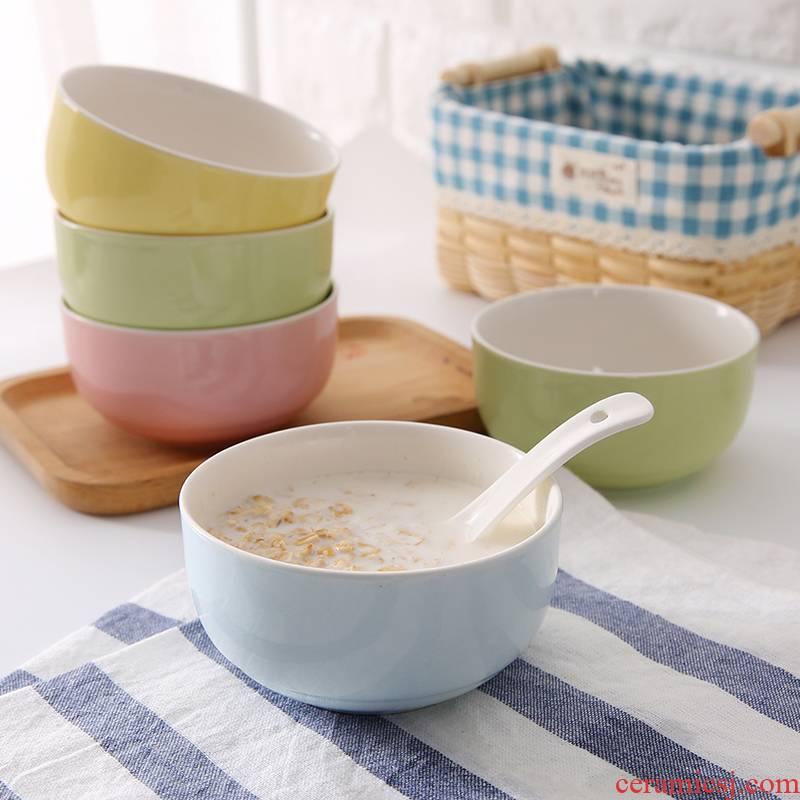 Domestic rice bowls of four suits for north European children eat small contracted the parent - child picking 2 tableware ceramic bowl